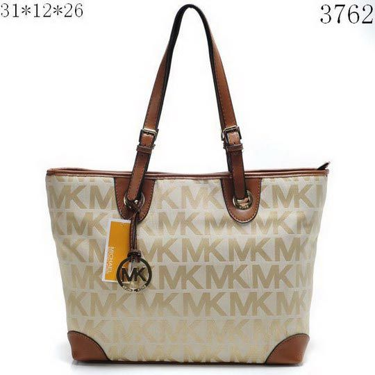Charming Michael Kors Logo Large Khaki Totes Make You To BeCrazy