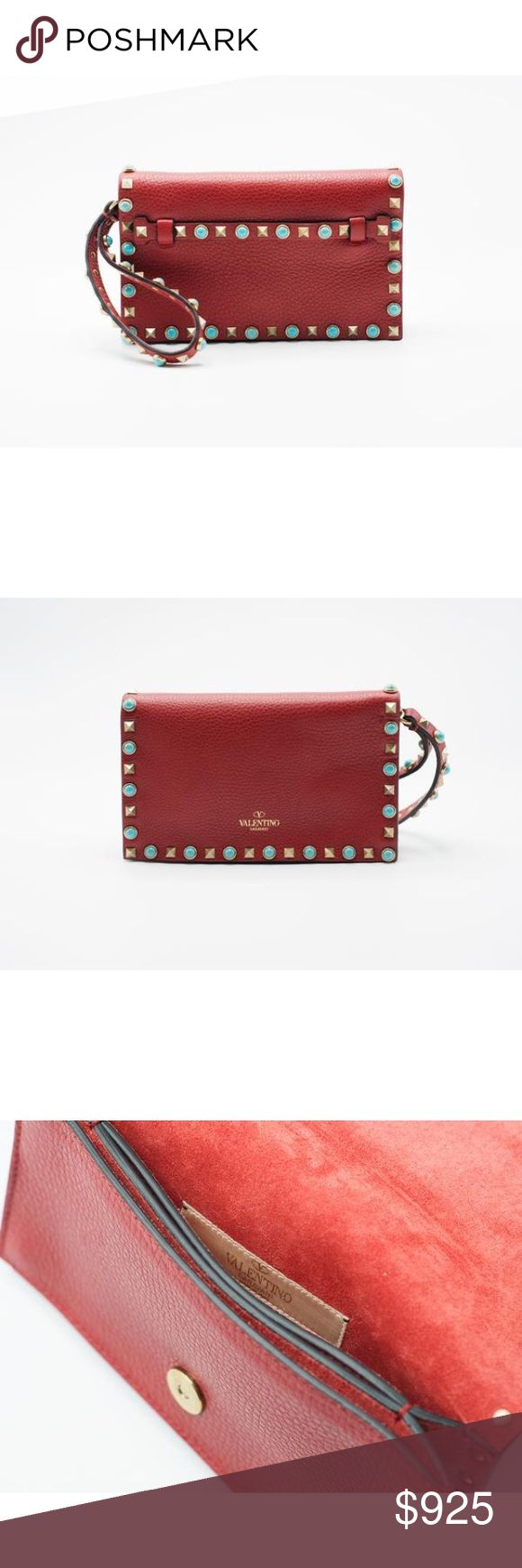 Valentino red smooth leather Rockstud flap clutch Brand New in Original Box with Dust bag and Original Tag  Retails in Stores and Online $2145 Valentino's red smooth leather Rockstud flap clutch is constructed with a flat clutch handle and detailed with the Turqouise signature studs. Grained leather clutch in 'rosso' red. Signature pyramid stud detailing throughout. Grab handle.  Signature golden Rockstud and turquoise cabochon trim.  Flat hand strap; wristlet strap.  Flap top closure.  5''…