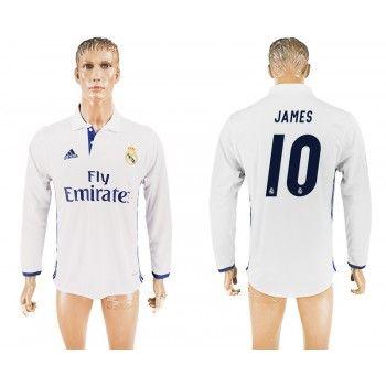 Real Madrid 16-17 James Rodriguez 10 Hemmatröja Långärmad   #Billiga  #fotbollströjor