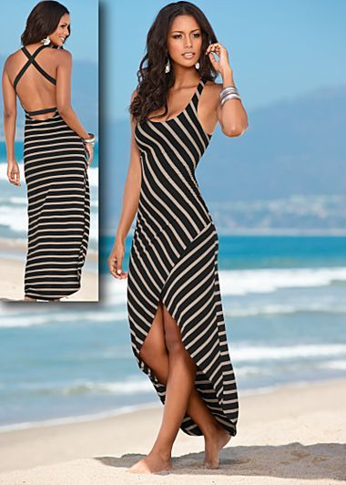 "Black & Tan (BKTA) Striped Maxi Dress $39   Let the natural beauty of your sensual back be a point of interest in this dramatic maxi.  ·    Open back with crisscrossed elastic straps     ·    20"" at shortest point     ·    42"" in length from natural waist     ·    Viscose/elastane     ·    Imported    ·   Style #Z48067"