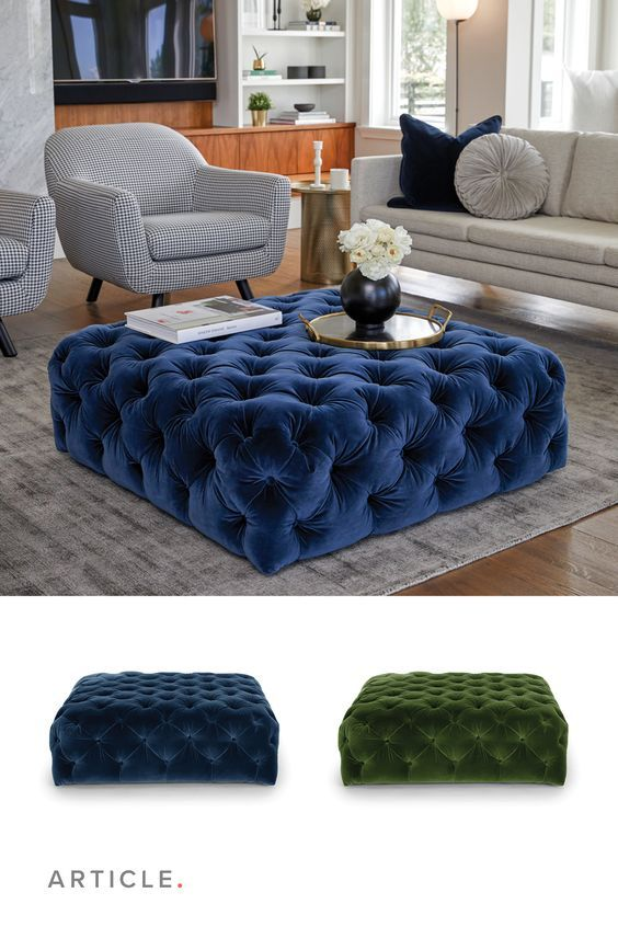 Equal Parts Luxurious Coffee Table And Sumptuous Ottoman Modglam Glamfurniture Velvetottom In Living Room Modern Furniture Blue - Are Ottoman Coffee Tables Still In Style