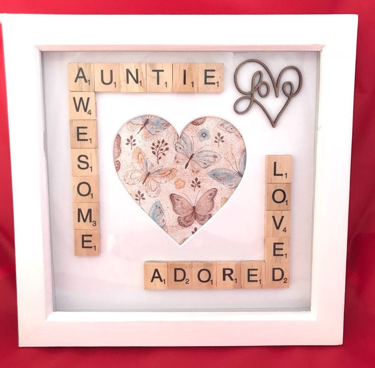 Awesome Auntie Photo Box Frame. Aunt Aunty Gift. Scrabble Wall Art Decor Aunties | eBay #scrabble #auntie #auntiegift #auntframe