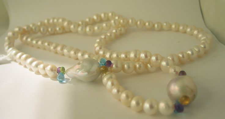 Great Mother's Day Present - Opera Length Freshwater Pearl and Coloured Gemstone Briolette Cut Necklace -sold