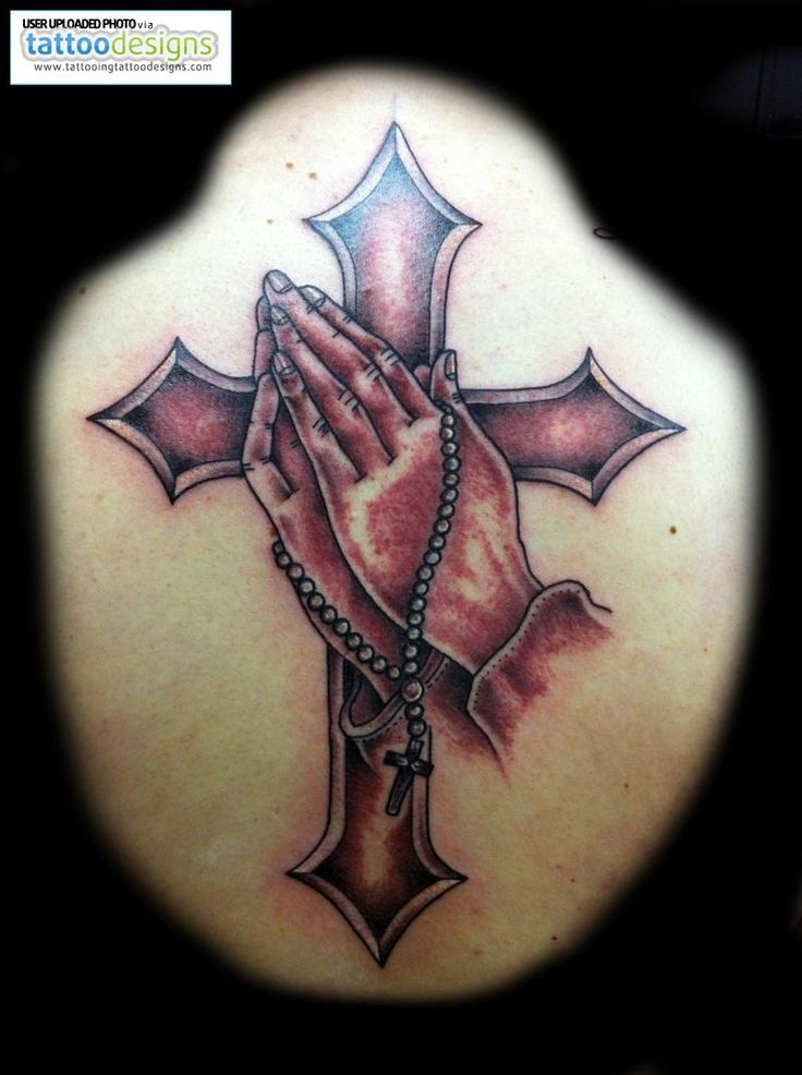 Traditional Cross Praying Hands Tattoo Image | Tattooing Tattoo Designs