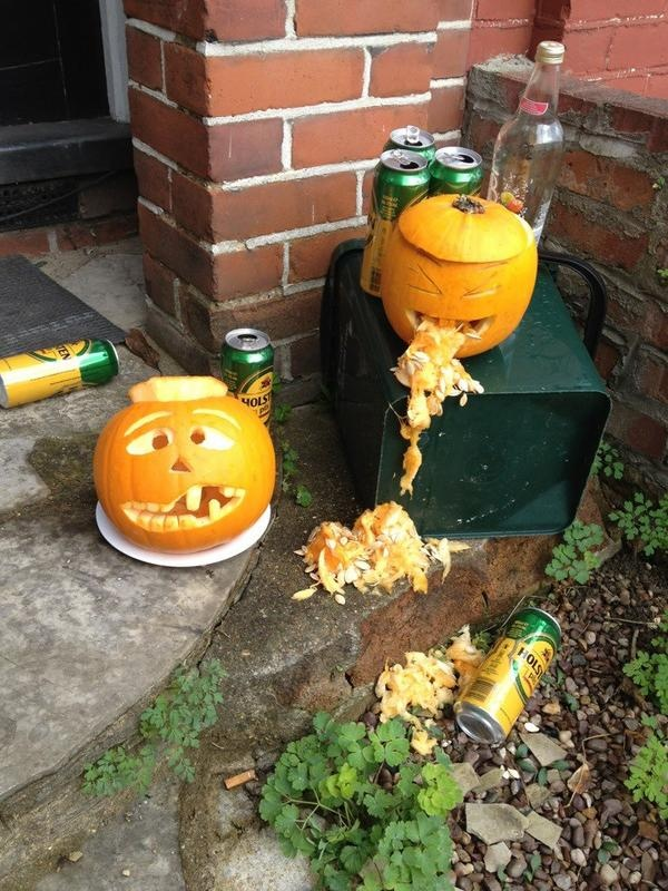 Entry from @wild_coconut - which is what happens when your pumpkin drinks too much!