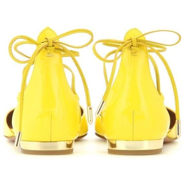 Aquazzura Alexa Patent Leather Lace-Up Ballerinas ($595) ❤ liked on Polyvore featuring shoes, flats, yellow flats, aquazzura flats, yellow shoes, yellow ballet flats and ballerina flats