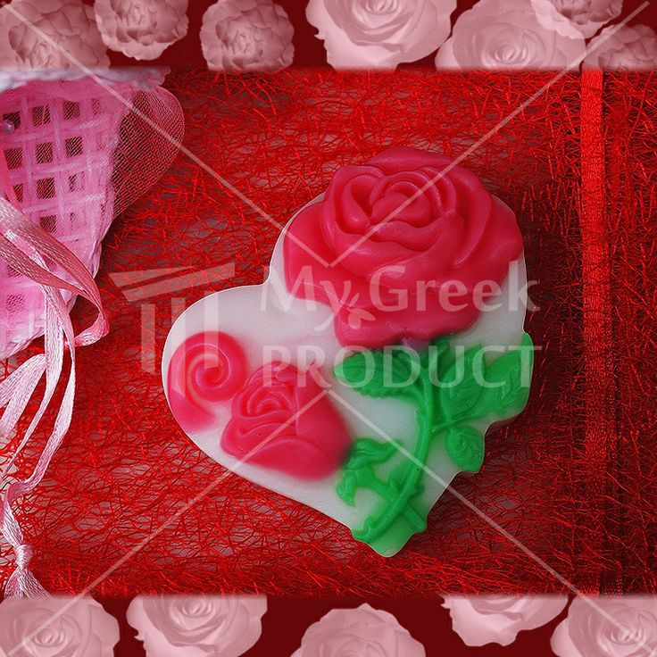 Decorative heart with rose soap 60gr  produced in Thessaloniki. Romantic mood. http://mygreekproduct.com/index.php?id_product=112&controller=product&id_lang=1