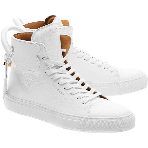 Buscemi 125MM White Gold // High-top leather sneakers (€819) ❤ liked on Polyvore featuring men's fashion, men's shoes, men's sneakers, men, shoes, men wear, sneakers, mens sneakers, mens leather sneakers and mens hi tops