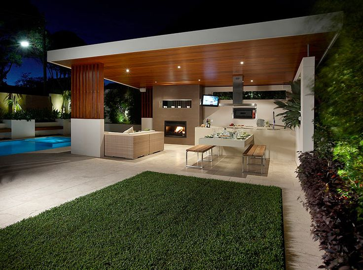 Heatmaster Open Wood Fireplace featured in this stunning indoor / outdoor living space. @HeatmasterAus