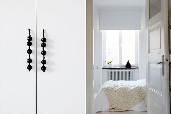 wooden beads become door handles