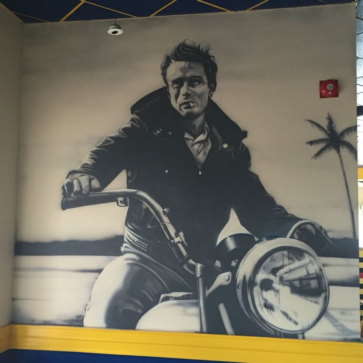 James Dean Airbrushed wall mural 9x9'