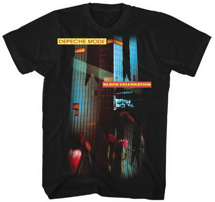 Our men's Depeche Mode Black Celebration tshirt spotlights the album cover artwork to the British electronic new wave music group's fifth studio release. With a darker sound than Depeche Mode's earlier albums, Black Celebration is considered one of the most influential albums of the 1980s featuring tracks such as A Question of Lust, A Question of Time & Stripped which were played regularly on alternative radio stations. This Depeche Mode Black Celebration tee is made from 100% black cotton.