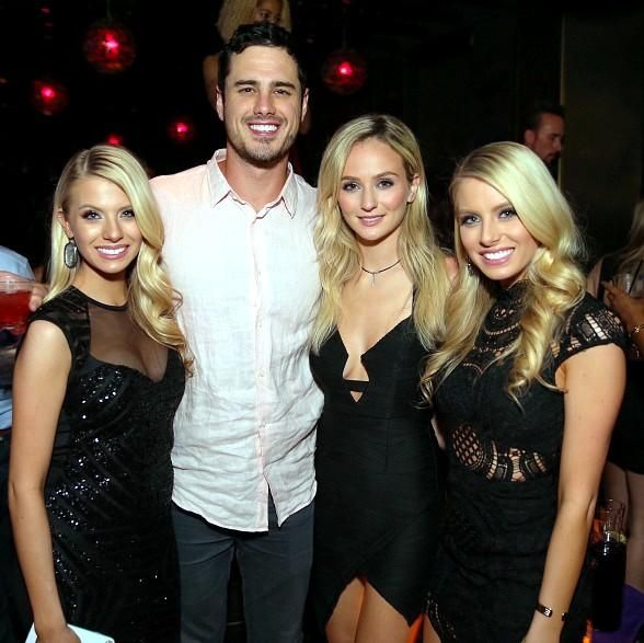 The Bachelor Ben Higgins and fiancé Laura Bushnell spotted at Marquee Nightclub in The Cosmopolitan of Las Vegas  (Pictured: Ben Higgins, Laura Bushnell, Emily & Haley Ferguson at Marquee – Photo credit: Tony Tran).