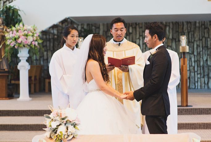 wedding ceremony at the Christ Cathedral in Anaheim
