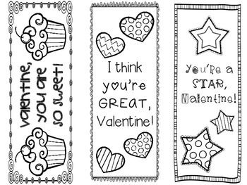Valentine's Day Bookmarks- 6 different designs! Great for teacher gifts to students.