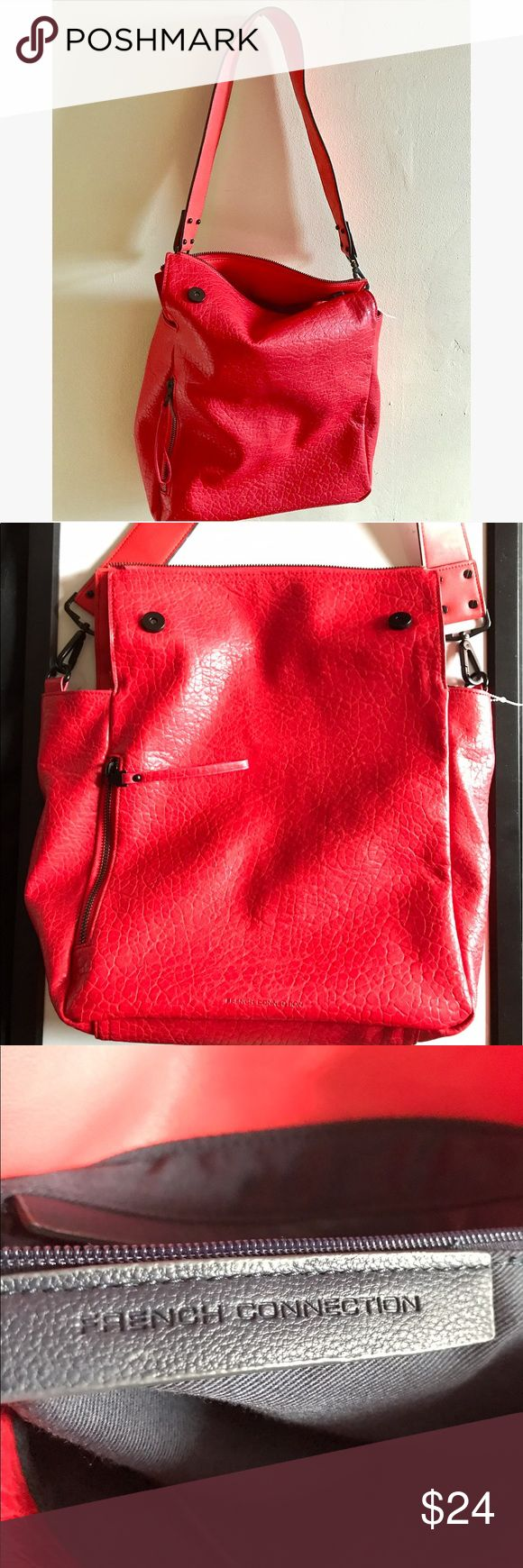 French Connection red leather purse satchel bag Great condition red leather bag. The inside is very clean, barely used. The top has some cool zipper details and snap enclosures. I'd use this purse for a laptop or just a regular trendy bag. French Connection Bags Satchels