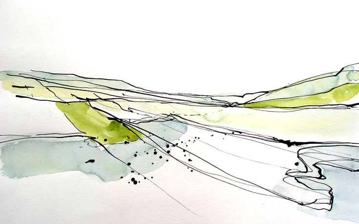 Dina Campbell : Landscape - Beautiful use of weighted line and wash...K