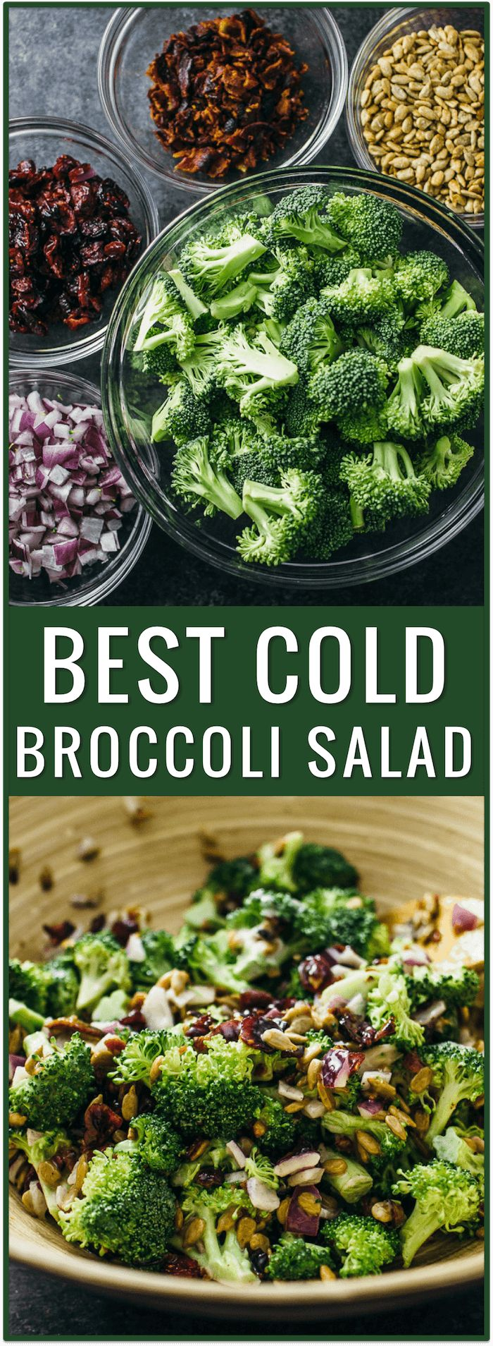 best cold broccoli salad with bacon and cranberries, raisins, healthy, easy, recipe, appetizer, side dish, simple, fast, dinner, lunch, snack, party, idea via @savory_tooth