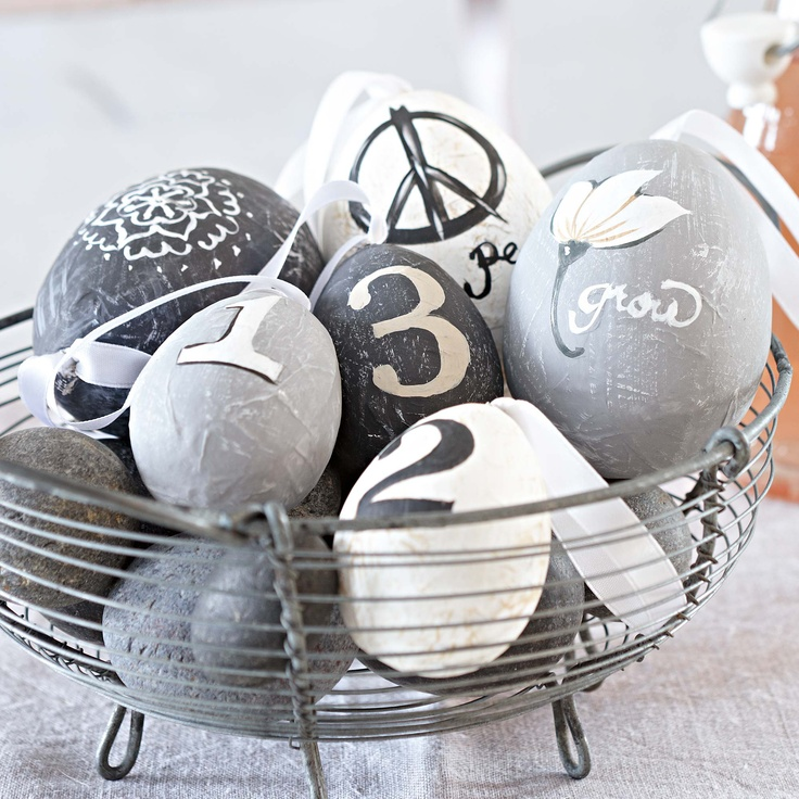 Painted eggs in shades of grey