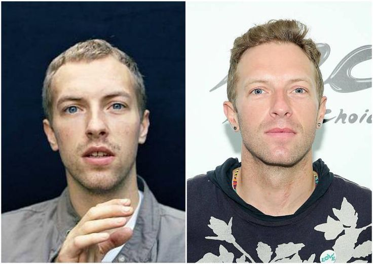 Chris Martin's eyes color - blue and hair color - blonde