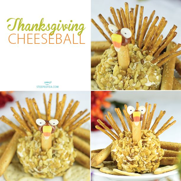 A festive snack the whole family will enjoy! This turkey shaped cheeseball is made with our BLT Cheeseball Mix. YUM! http://recipes.steepedtea.com/thanksgiving-cheeseball/