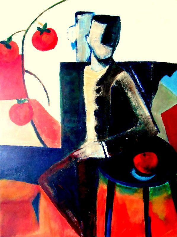 Acrílico sobre tela 80x60 by Isabel Aguiar. Último poema, poema de Eugénio de Andrade