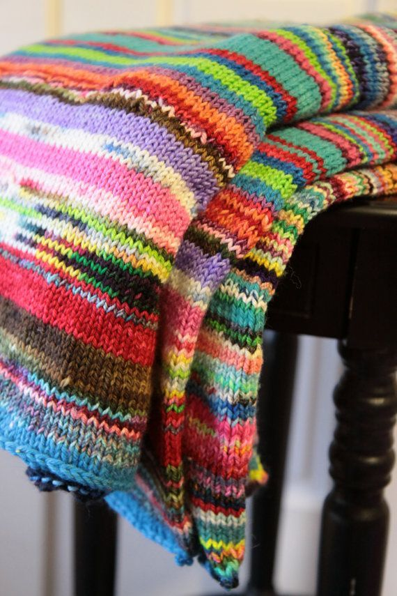 Lap Blanket Multicolored Chunky Knit Warm Soft Merino