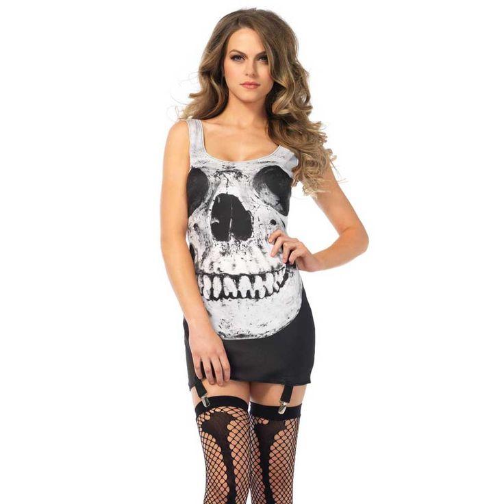 Leg Avenue. Een Skull Garter jurk Halloween kostuum met grote schedel print op de voor en achterkant.