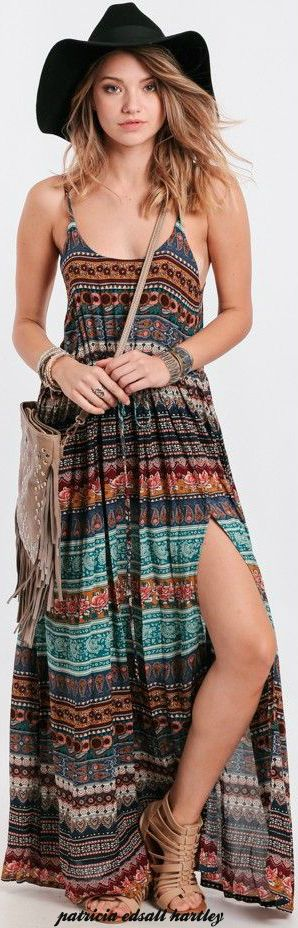 bohemian boho style hippy hippie chic bohème vibe gypsy fashion indie folk look outfit love everything BUT the hat. Ditch the hat.