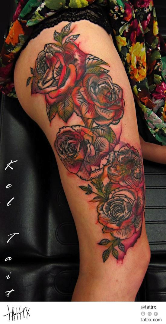etching style roses with watercolour overlay by Kel Tait (Melbourne, Aus)