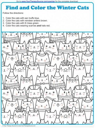 Visual Perception Activity: Find and Color the Winter Cats - repinned by @PediaStaff – Please Visit ht.ly/63sNtfor all our pediatric therapy pins