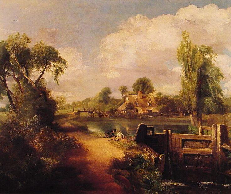 Paisaje con dos muchachos pescando John Constable 1813