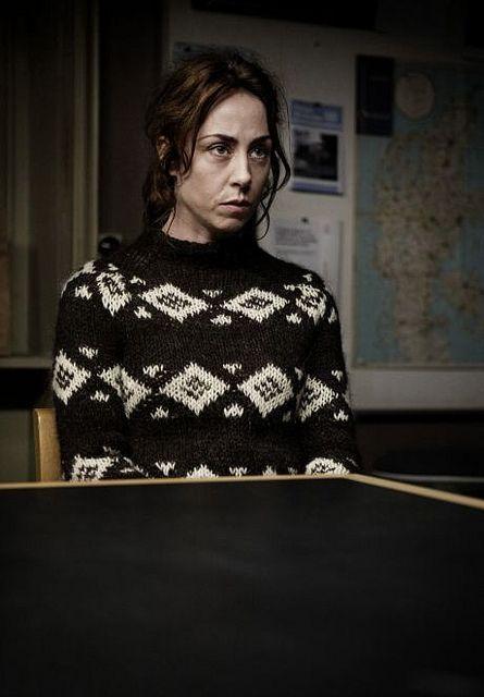 Sarah Lund in een van haar favoriete gebreide truien.