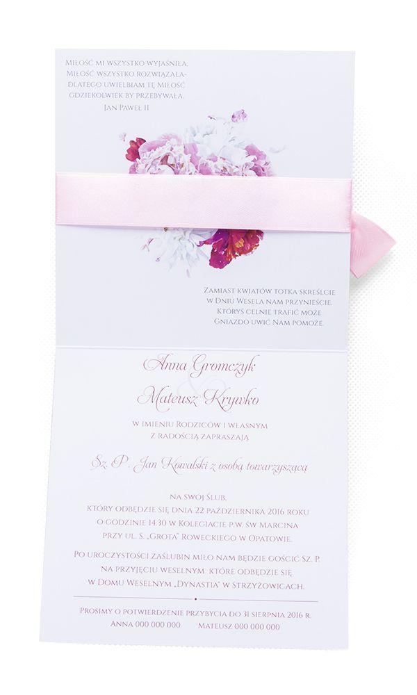 Zaproszenia Slubne Z Kwiatami Piwonii Z Koperta 6999382871 Oficjalne Archiwum Allegro Place Card Holders Place Cards Cards
