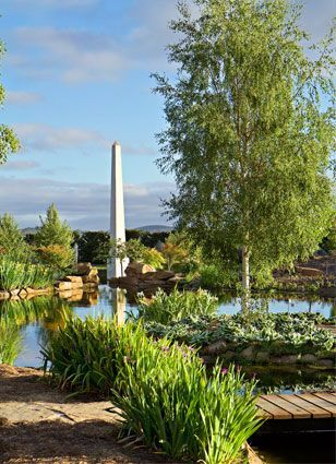 Mayfield Gardens,Oberon, NSW----The Water Garden--Garden follies include a blue-stone bridge, copper tree fountain, stone and steel wisteria arbor, obelisk pond, cascades and quiet waters.