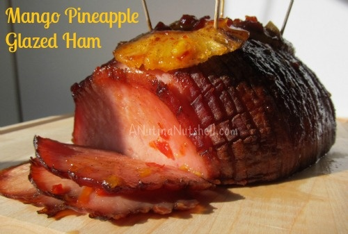 Mango pineapple glazed ham--this looks delicious.  And on King's Hawaiian rolls?  Out of this world!