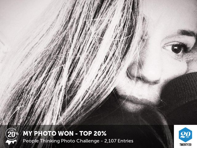 My photo was voted Top 20% in the People Thinking challenge on Twenty20. See the entries.