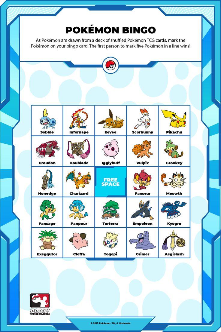 As Pokémon are drawn from a deck of shuffed Pokémon TCG cards, mark the Pokémon on your bingo card. The first person to mark five Pokémon in a line wins! Pokemon Tcg Cards, Play Pokemon, Bingo Cards, Charizard, Deck, Decks, Decoration