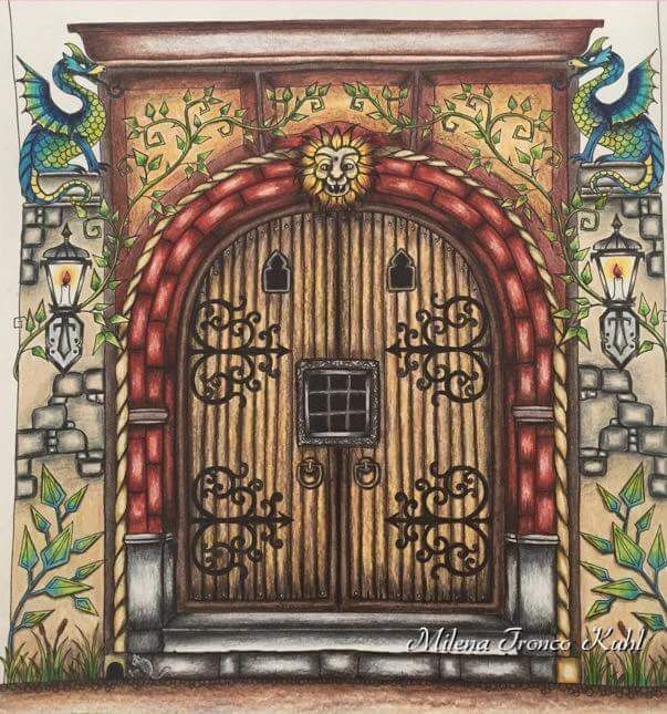 Castle Doors Adult Coloring Coloring Books Johanna Basford Milena Portal Door Gate Prismacolor Enchanted Forest & 593 best enchanted forest images on Pinterest | Coloring books ... Pezcame.Com
