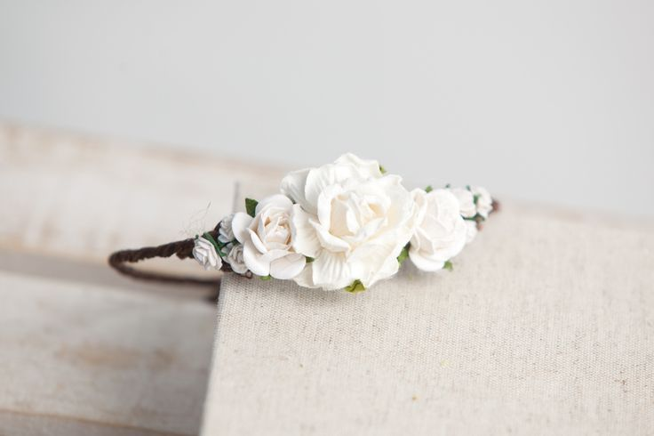 Mini Evelyn Newborn Floral Crown • Newborn Flower Crown • Simple Crown • Bohemian Crown • Ivory Floral Crown • Dainty Floral Crown | READY TO SHIP • by Sew Trendy