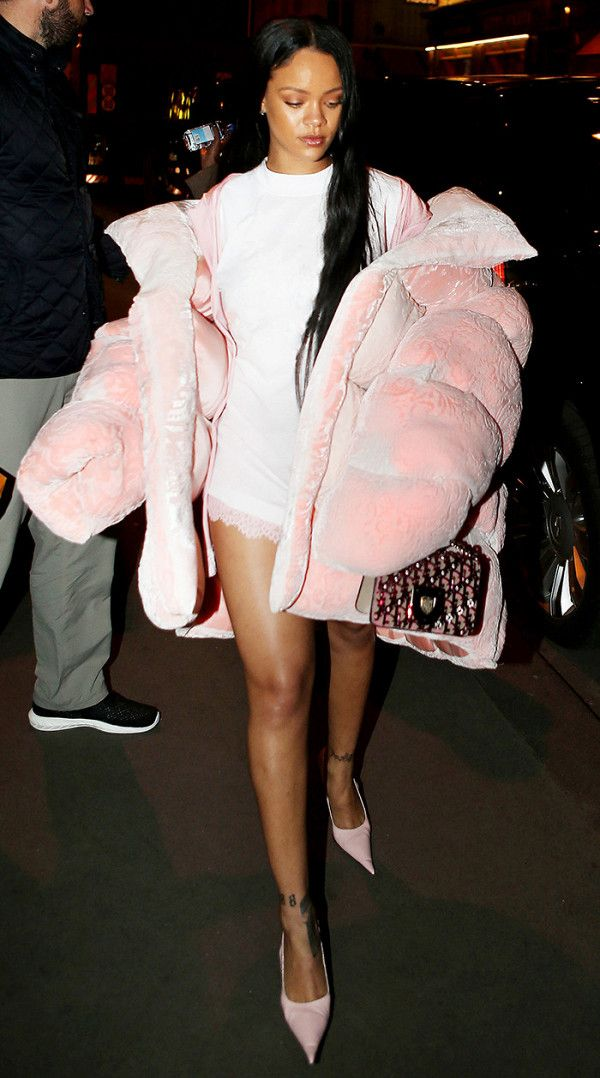 Only Rihanna could make a pink puffer jacket look this amazing.