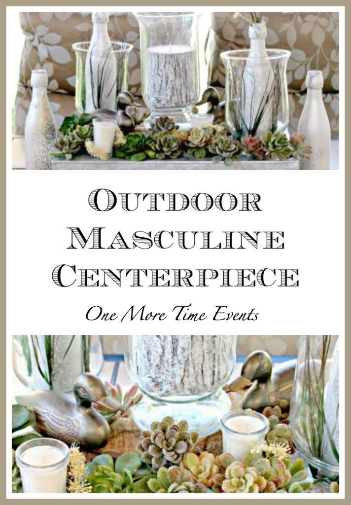 Outdoor Masculine Centerpiece with succulents and mallards for the outdoorsy man in your life...perfect centerpiece for Father's day or Birthday celebration