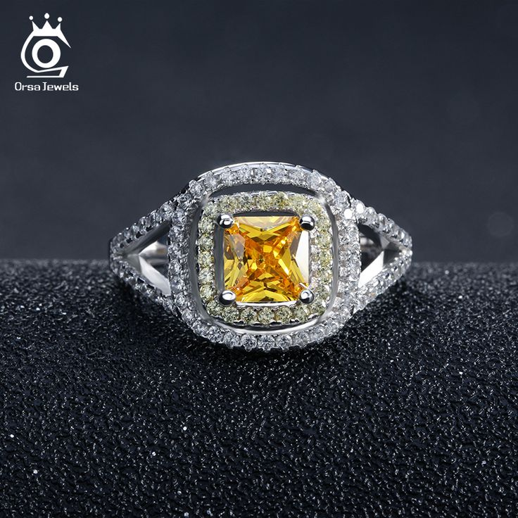 ORSA JEWELS Luxury Princess Cut Yellow Zircon Wedding Ring with Micro Paved Clear and Yellow CZ Fashion Rings for Women OR50