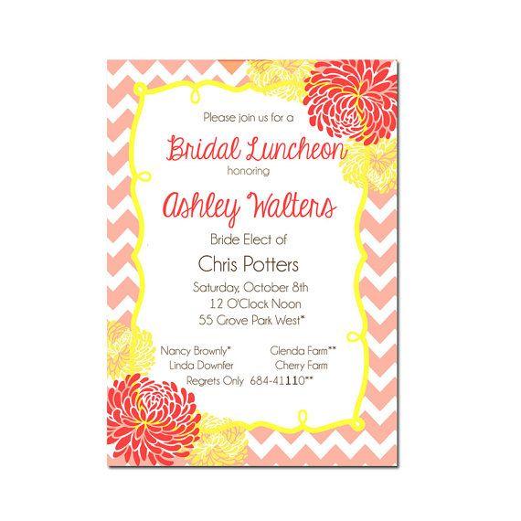 Chevron Bridal Shower Invitation - Chevron Stripe -Digital File- Printable Invitation or PRINTED - Modern Bridal Invitation