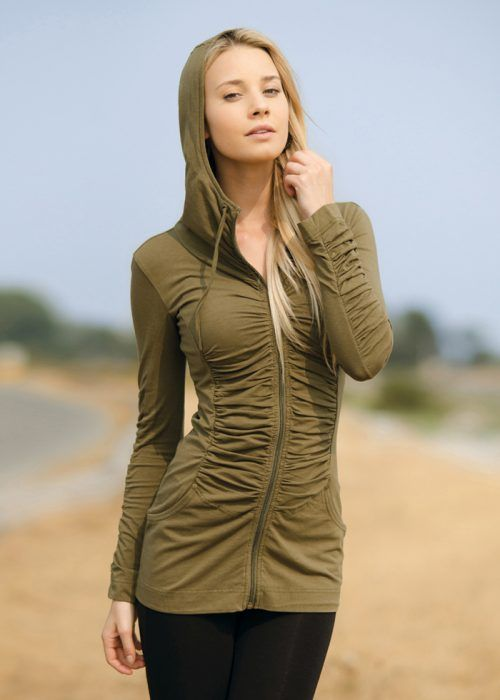 An all time fave, this hemp hoodie has a ruche-explosion down the front, back and sleeves. Princess lines down the front and back accentuate your curves.