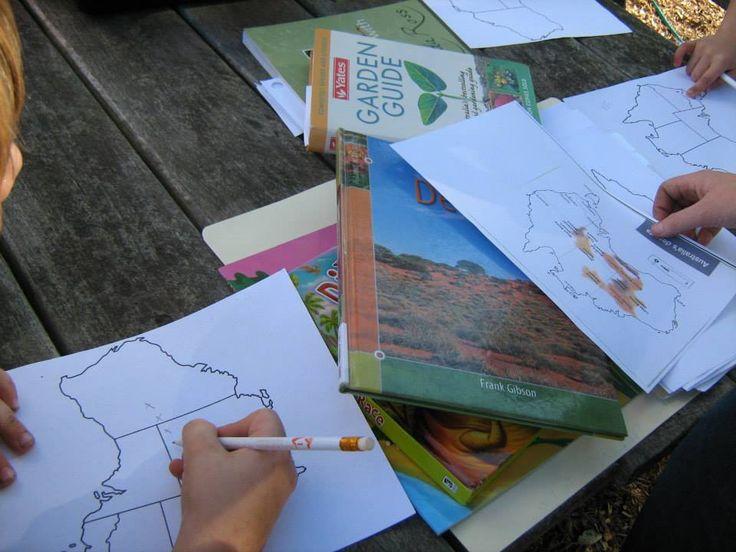 Older children drew deserts on an Australian map