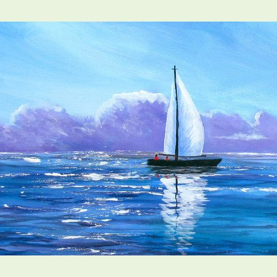 Sailboat painting original acrylic Abstract by derekcollins