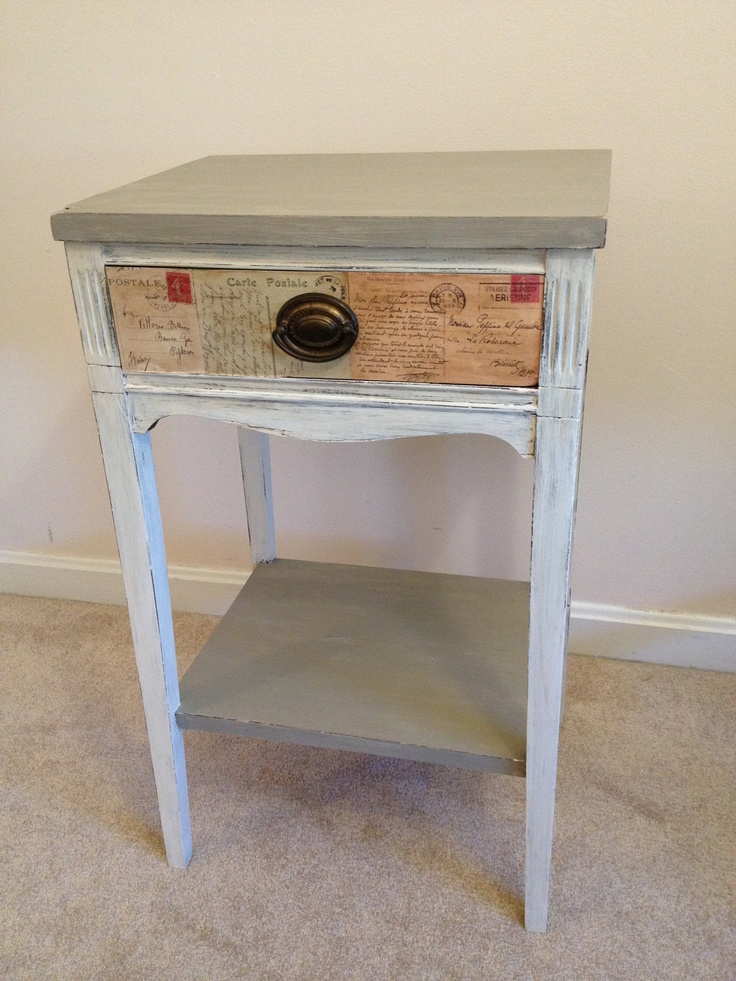 Antique chalk paint French Linen/Old White distressed end table with postcard découpage. $90.00, via Etsy.