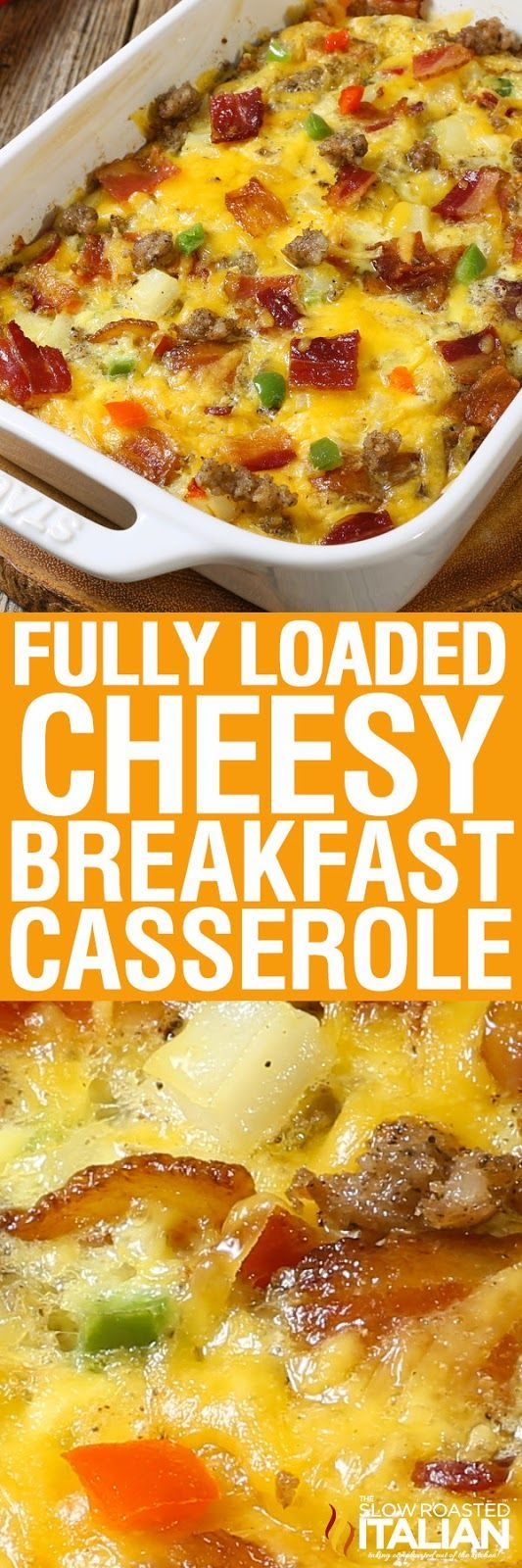 Fully Loaded Cheesy Breakfast Casserole is all of our favorite things in an easy breakfast recipe that you can make ahead. Packed with eggs, potatoes, veggies, sausage AND bacon it is truly a full breakfast in one dish. The overnight cooking method makes this a winner in my house!