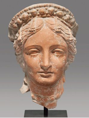 A Magnificent Hellenistic Terracotta Head of Aphrodite Black Sea Segion, ca. 3rd-1st century B.C.E., H. 22.8 cm